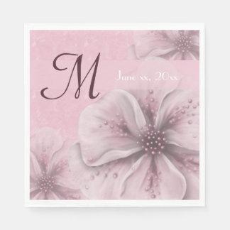 Monogram Pale Pink Floral Paper Napkin