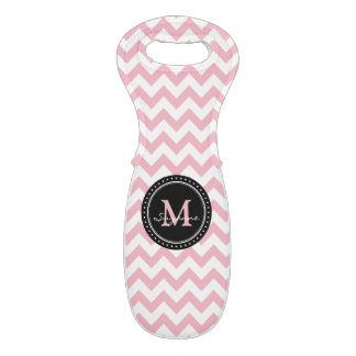 Monogram Pale Pink White Abstract Chevron Wine Bag