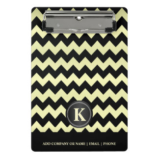 Monogram  Pale Yellow & Black Chevron Stripes Mini Clipboard
