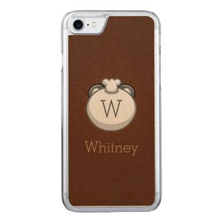 Monogram Panda | Elegant Brown Carved iPhone 7 Case