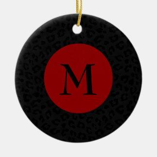 Monogram Panther Print Ceramic Ornament
