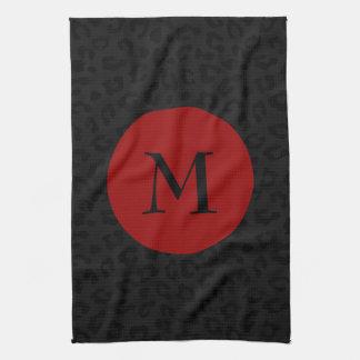 Monogram Panther Print Tea Towel