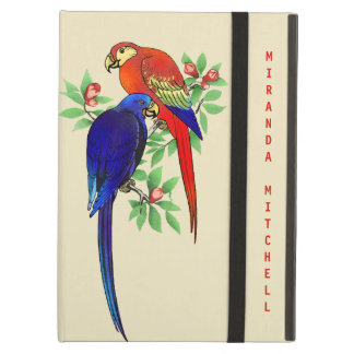 Monogram Parrots Blue Red Flowers Beige Air Case