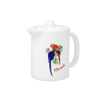 Monogram Parrots Blue Red Flowers Teapot