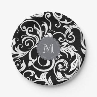 Monogram Party Floral Wallpaper Black White Paper Plate