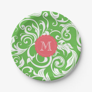 Monogram Party Floral Wallpaper Green Pink Paper Plate
