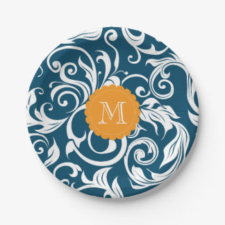 Monogram Party Floral Wallpaper Peacock Blue Paper Plate