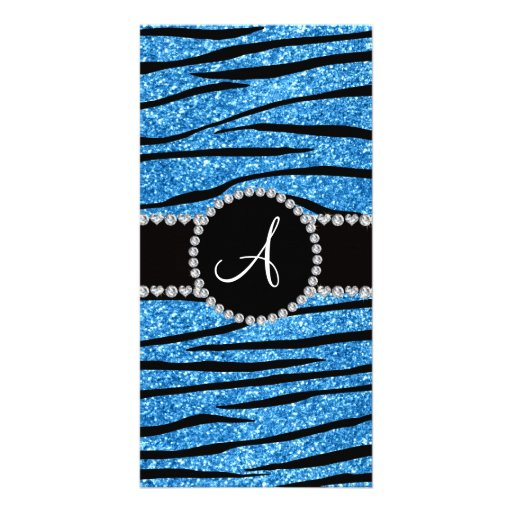 Monogram pastel blue glitter zebra stripes circle custom photo card