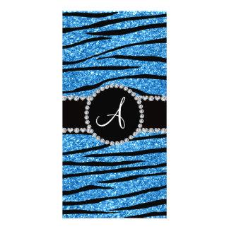 Monogram pastel blue glitter zebra stripes circle picture card