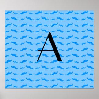 Monogram pastel blue mustache pattern poster