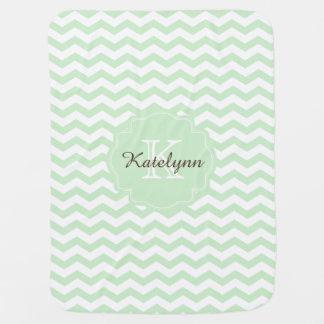 Monogram Pastel Mint Zigzag Custom Baby Blanket