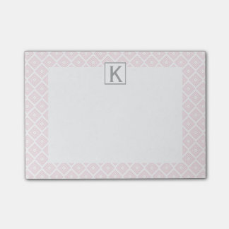 Monogram Pastel Pink Square Pattern with Gray Post-it Notes