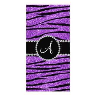 Monogram pastel purple glitter zebra stripes photo card template