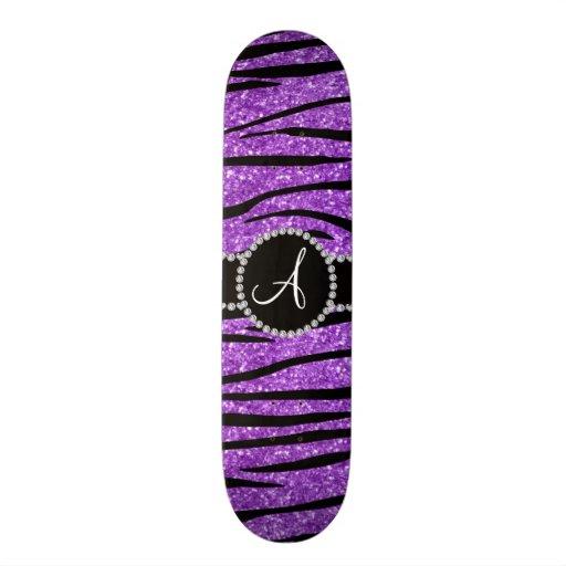 Monogram pastel purple glitter zebra stripes skate board decks