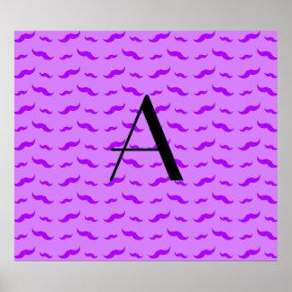 Monogram pastel purple mustache pattern poster