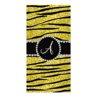 Monogram pastel yellow glitter zebra stripes circl customised photo card