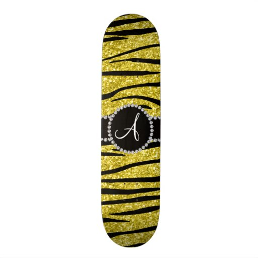 Monogram pastel yellow glitter zebra stripes circl skate decks