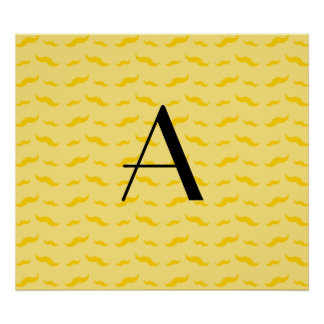 Monogram pastel yellow mustache pattern poster