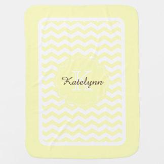 Monogram Pastel Yellow Zigzag Custom Baby Blanket