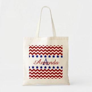 Monogram Patriotic Red Chevron Stars Tote Bag