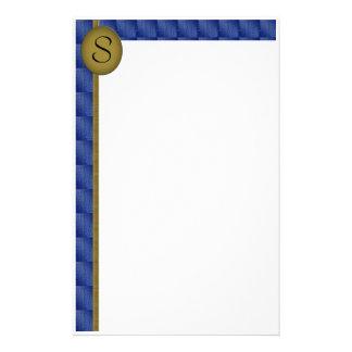 Monogram Patterned Blue Border Customized Stationery