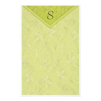 Monogram Pea Green Floral Custom Stationery