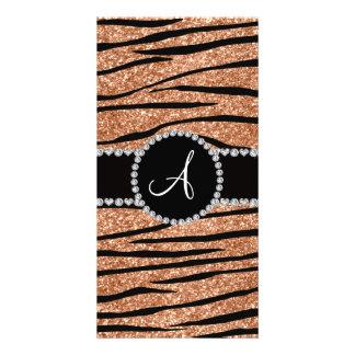 Monogram peach orange glitter zebra stripes circle photo card