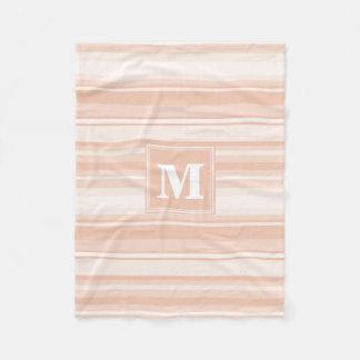 Monogram peach stripes fleece blanket