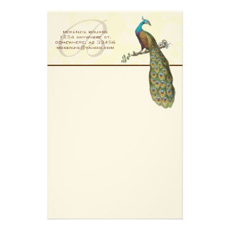 Monogram Peacock Branch Stationery