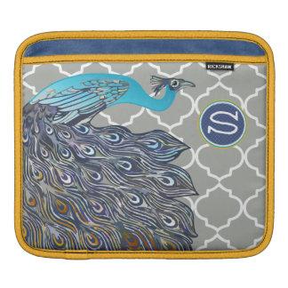 Monogram Peacock Moorish Tile Pattern iPad iPad Sleeve