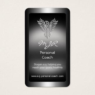 Monogram, Personal Trainer, silver-look Phoenix Business Card