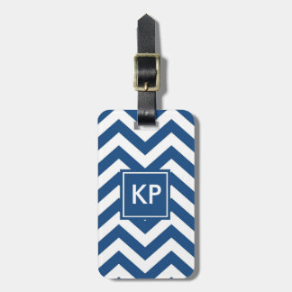 Monogram Personalised Blue Chevron Luggage Tag