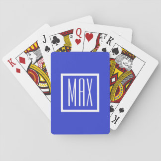 Monogram Personalised Blue Poker Playing Cards
