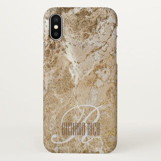 Monogram Personalised Glitter Golden Gold Marble iPhone X Case