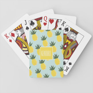Monogram Personalised Pineapple Playing Cards