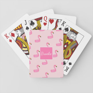 Monogram Personalised Pink Flamingo Playing Cards