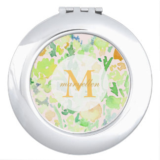 Monogram Personalized Abstract Floral Compact Mirrors For Makeup