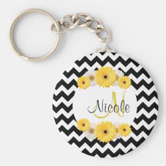 Monogram Personalized black white chevron Daisy Basic Round Button Key Ring