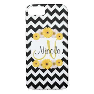 Monogram Personalized black white chevron Daisy iPhone 7 Case
