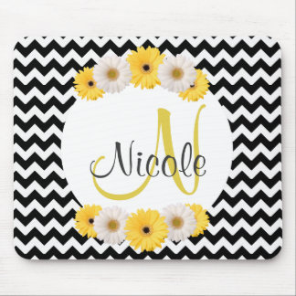 Monogram Personalized black white chevron Daisy Mouse Pad