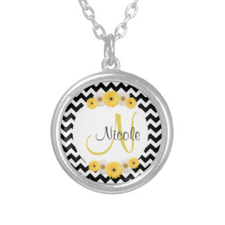 Monogram Personalized black white chevron Daisy Round Pendant Necklace