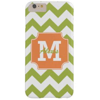 Monogram Personalized Green Orange Chevron Barely There iPhone 6 Plus Case