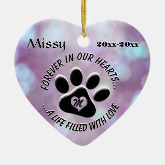 Monogram Pet Memorial Heart Ceramic Heart Decoration