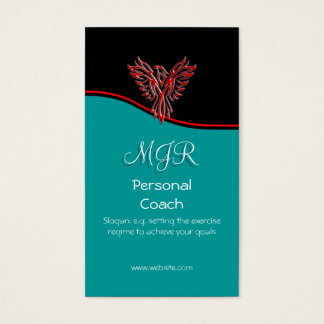 Monogram, Phoenix Personal Trainer, red swoosh Business Card