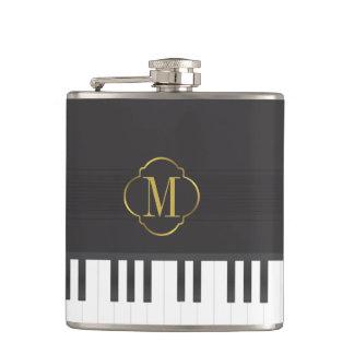 Monogram piano hip flask