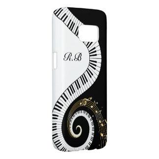 Monogram Piano Keys and  Musical Notes