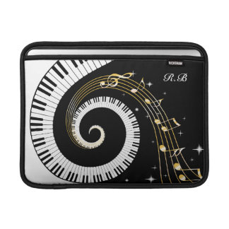 Monogram Piano Keys and  Musical Notes MacBook Air Sleeves