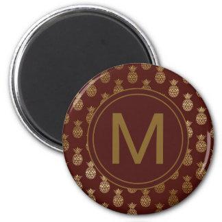 Monogram | Pineapple Gold Burgundy Magnet