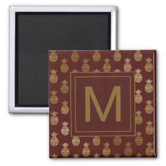 Monogram | Pineapple Gold Dark Burgundy Magnet