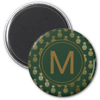 Monogram | Pineapple Gold Dark Green Magnet
